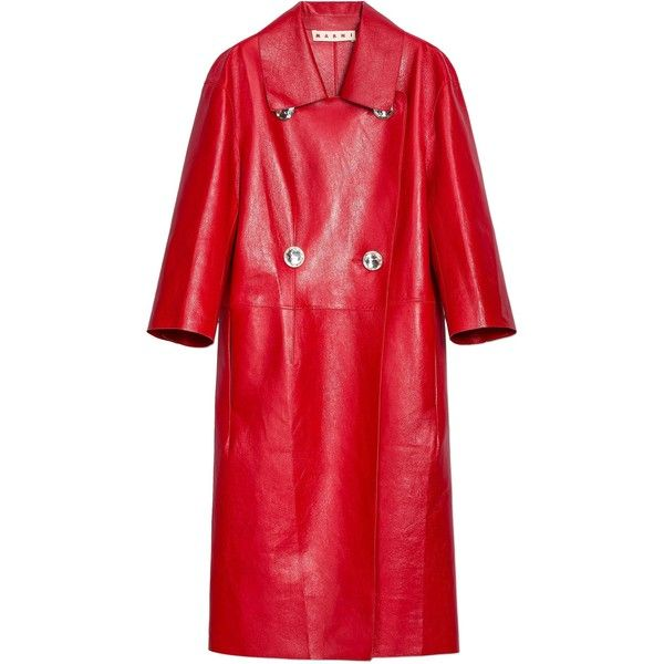 Marni Leather Duster Coat (€2.400) ❤ liked on Polyvore featuring outerwear, coats, jackets, double breasted long coat, red trench coats, leather trench coat, red duster coat and leather coats