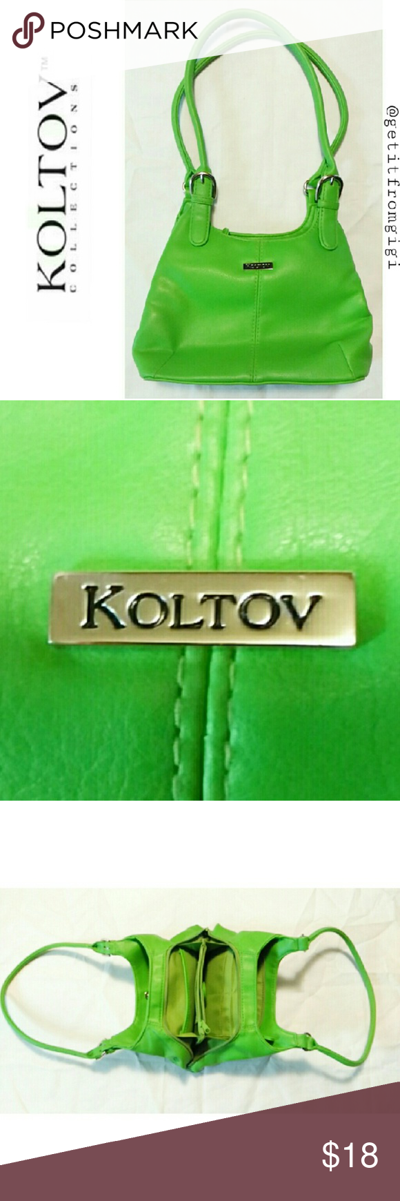 """KOLTOV Multi-Compartment Handbag Lime green. Has multiple compartments for keys, change,  cellphone... Etc. In great pre-owned condition. Measures 9""""x 6"""" x 3.5"""". Inside is clean as well. koltov Bags Mini Bags"""