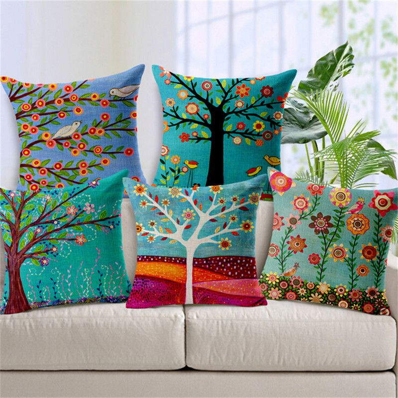Home Decor Cushions bedroom cushion cartoon style fashion decorative cushions marvel heroes printed throw pillows car home Hand Painted Flower Tree Print Cushion Covers For Sofa Cotton Linen Car Seat Home Decorative Cushion