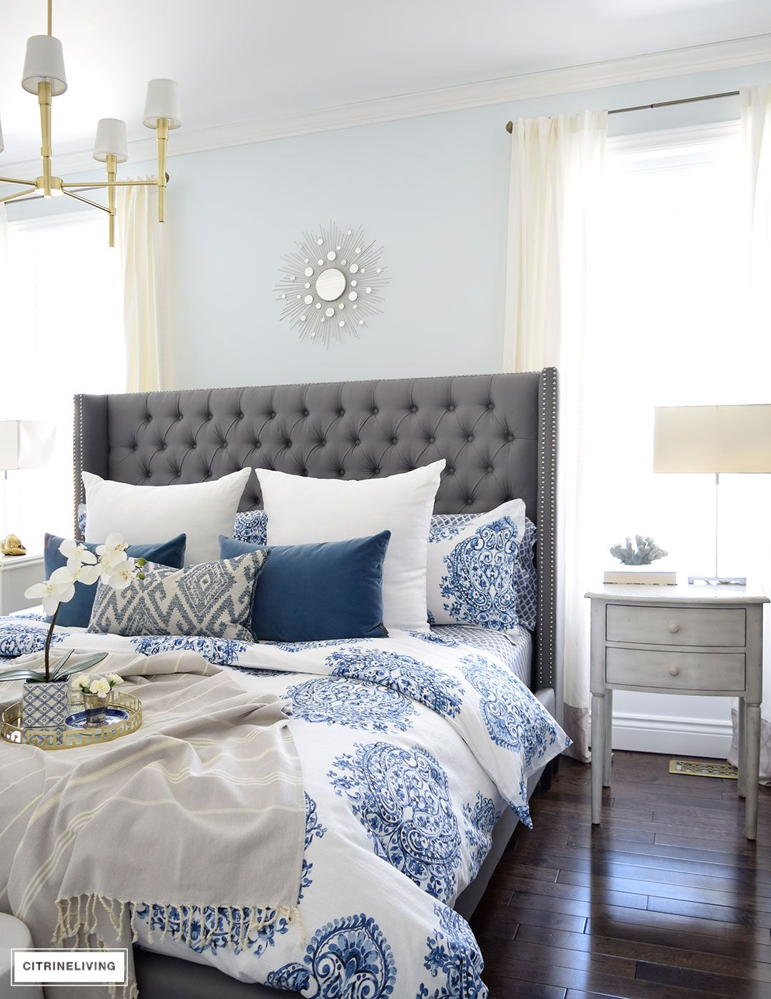 Best Spring In Full Swing Home Tour 2017 Blue White Bedding Grey Upholstered Bed White Bedroom Decor 400 x 300