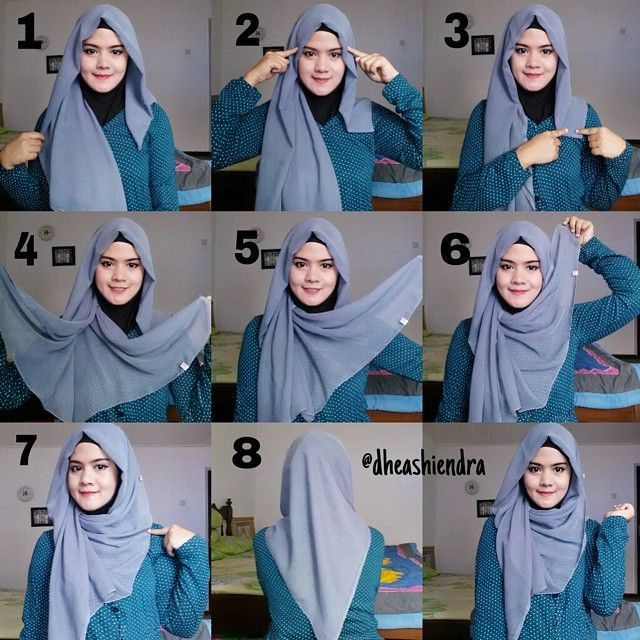 Check out this cute hijab style you can make using your square scarves folding them into a triangle, it covers your chest and back beautifullly and give you a loose look for spring and summer styles. Here are the steps…