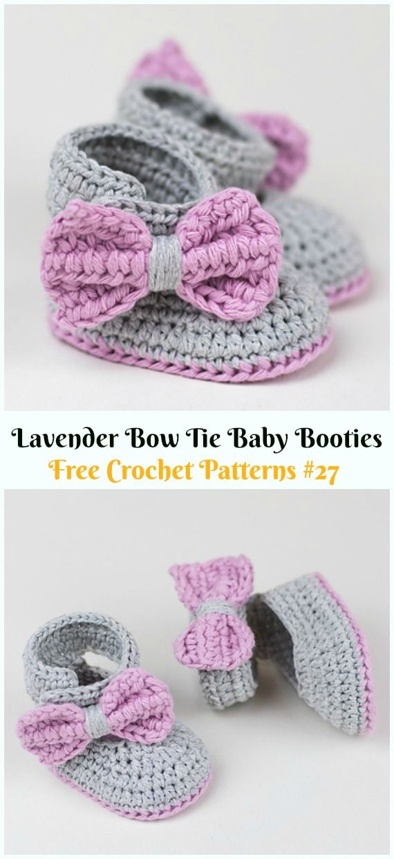 Lavender Bow Tie Baby Booties Crochet Free Pattern & Video ...