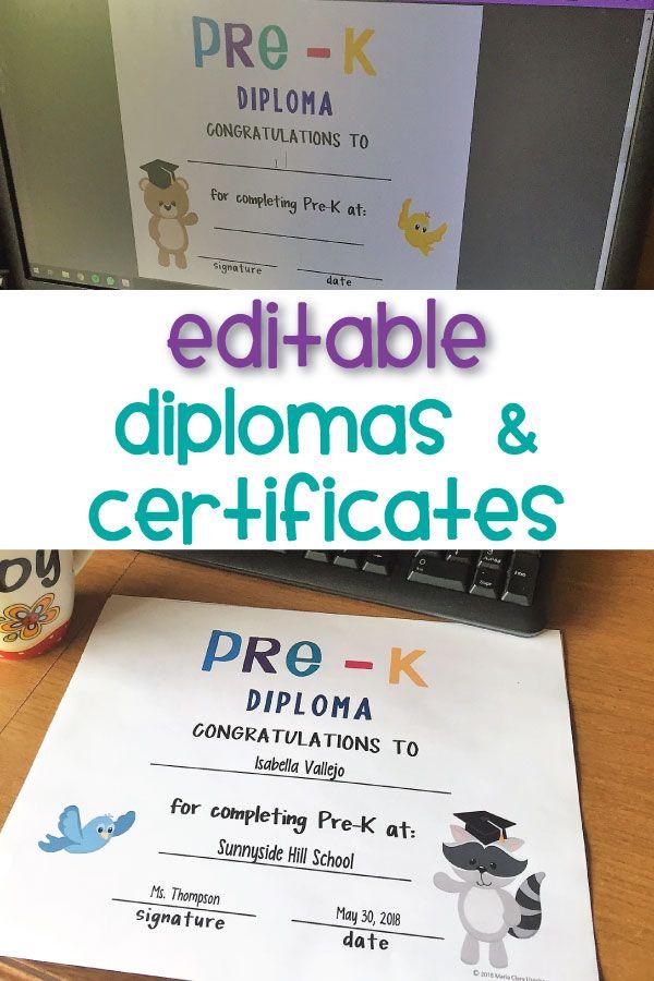 editable pre k graduation diplomas certificates certificate