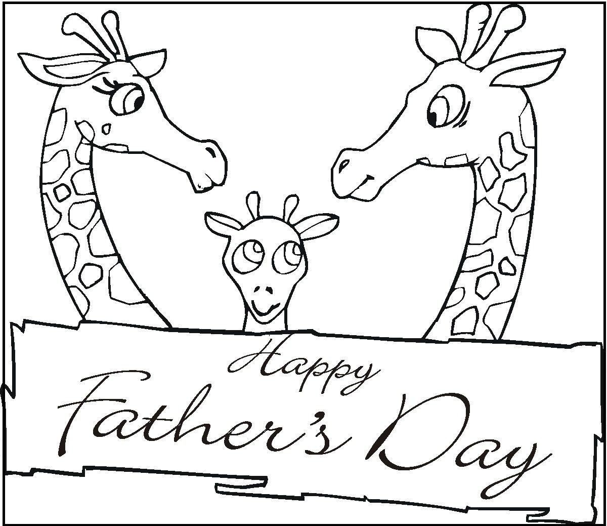 Fathers Day By Giraffe coloring picture for kids  Fathers Day