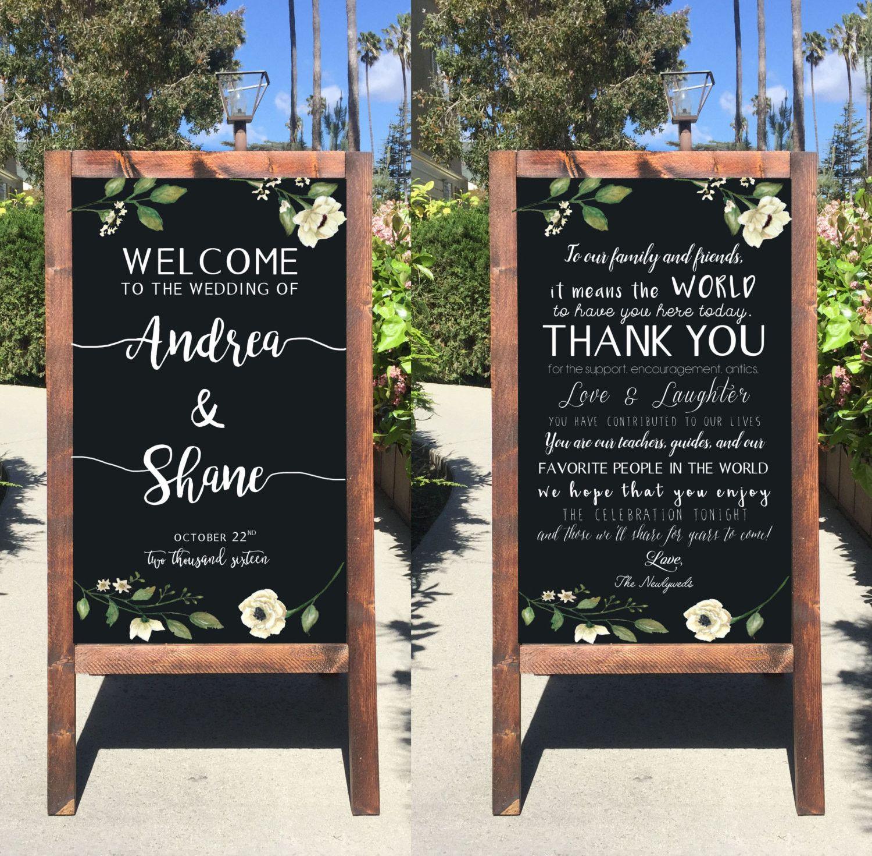 Rustic Wedding Sign Welcome Wedding Chalkboard Sign Thank You Double Sided Sandwich Board Wedding Chalkboard Signs Rustic Wedding Signs Chalkboard Wedding