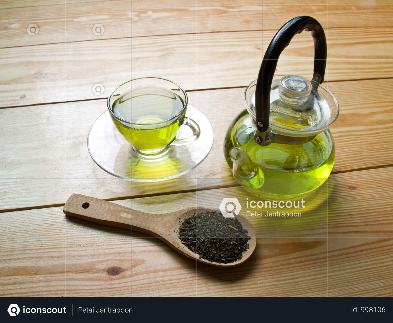 Premium Green Tea With Tea Pot On Wooden Table Photo Download In Png Jpg Format Green Tea Benefits Premium Green Tea Green Tea Benefits Health