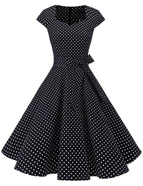 Damen Rockabilly 50er Swing Petticoat Retro Hepburn Partykleider Cocktailkleider