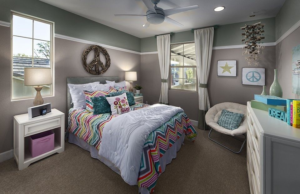 Contemporary Kids Bedroom With Sugarboo Designs Driftwood Peace Sign,  Ceiling Fan, PB Teen Crinkle