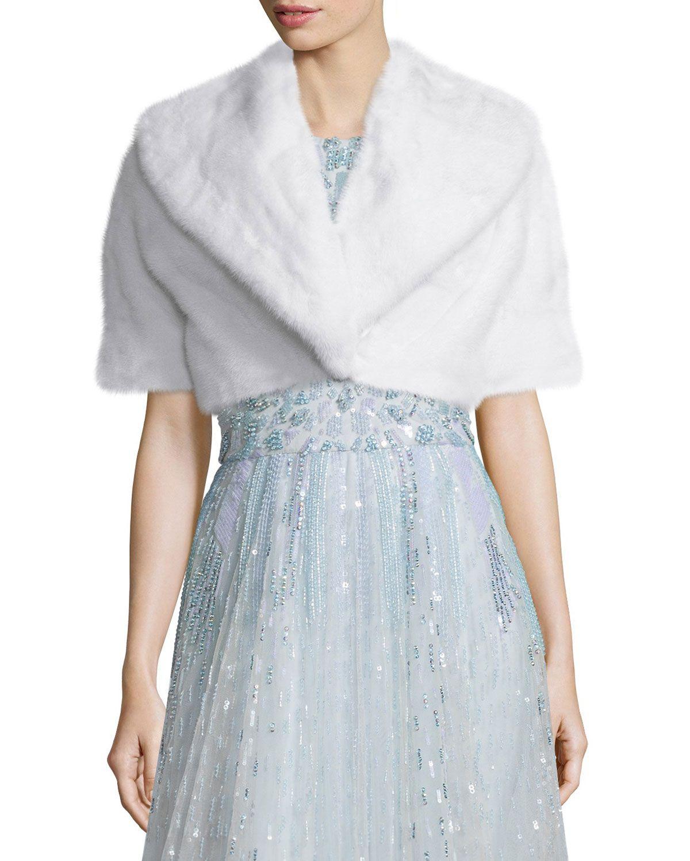 Short-Sleeve Mink Bolero, White