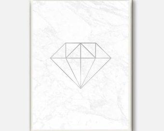 Silver Diamond Poster Modern Wall Art Minimal Decor Scandinavian