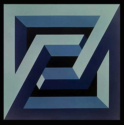 Figura imposible serie cuadrados 1972 pintura sint tica - Figuras geometricas imposibles ...