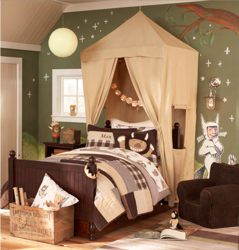 Boys Safari Canopy Way cool over bed tent and wild things mural! & Where The Wild Things Are kids room...Pottery Barn kidu0027s fall ...