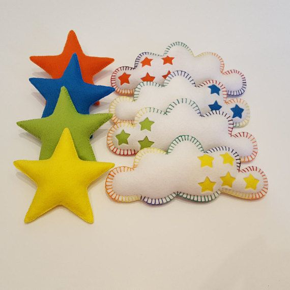 Beautiful rainbow garland which would be the perfect addition to your nursery or as a gift for a new baby. The stars and clouds look cheery hanging by a crib or change table to entertain and enchant little ones.  This garland has four white clouds which feature small cut out stars, backed with different colours on each cloud. There are four bright stars to accompany the clouds in matching colours. These have been lovingly filled with toy stuffing to create a plumped up 3d effect and are hand…