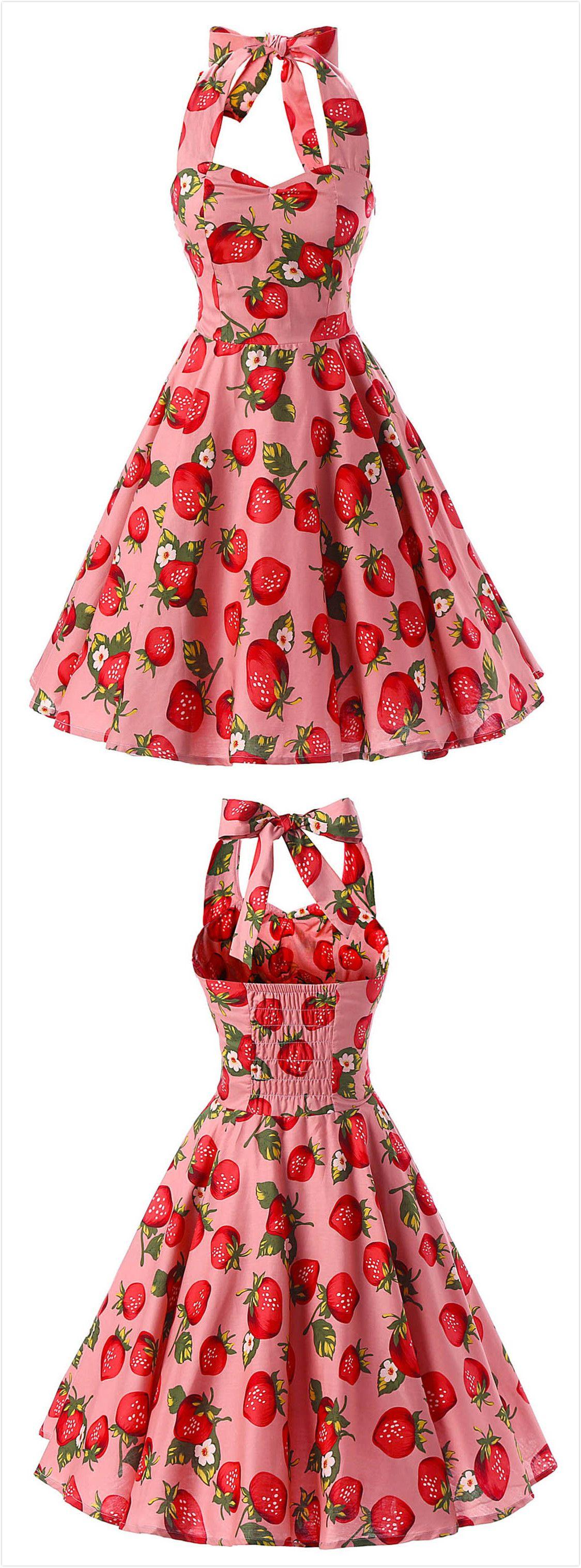 Women S Vintage Strawberry Print Halter A Line Dress