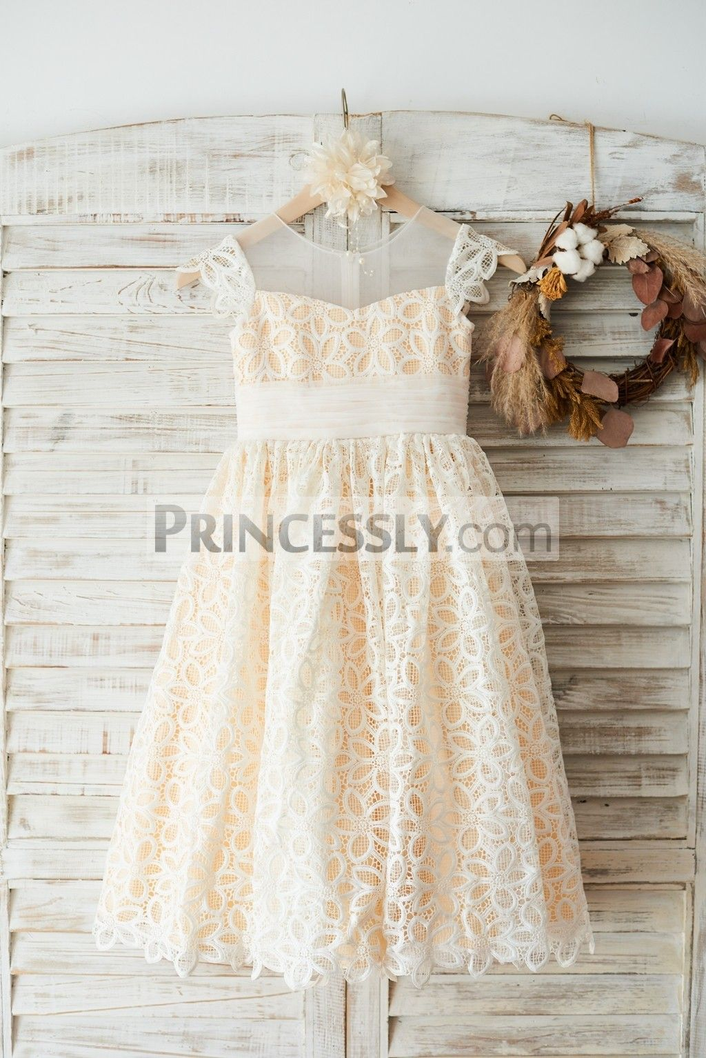 Girls wedding dress  Cap Sleeves Ivory Lace Illusion Neck Wedding Flower Girl Dress