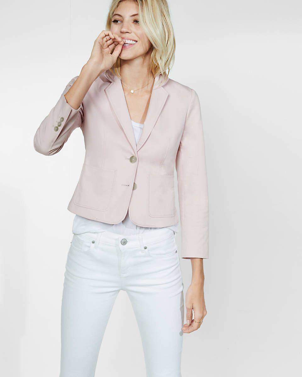 three quarter sleeve two button jacket