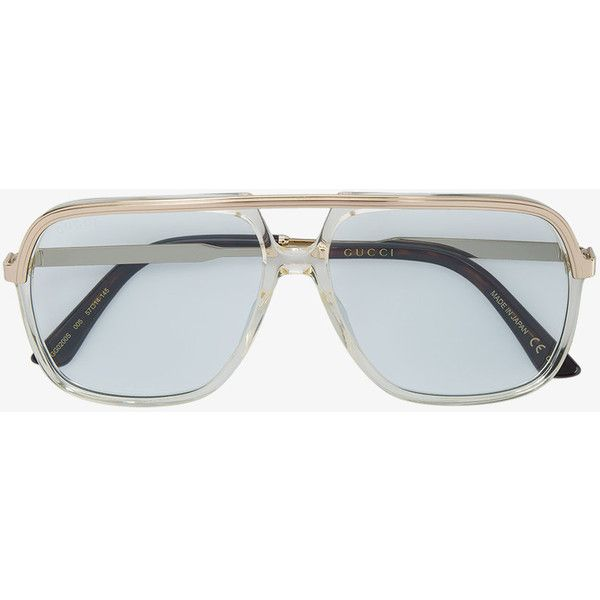 20f55bbedbe Gucci Rectangular frame metal sunglasses ( 330) ❤ liked on Polyvore  featuring men s fashion