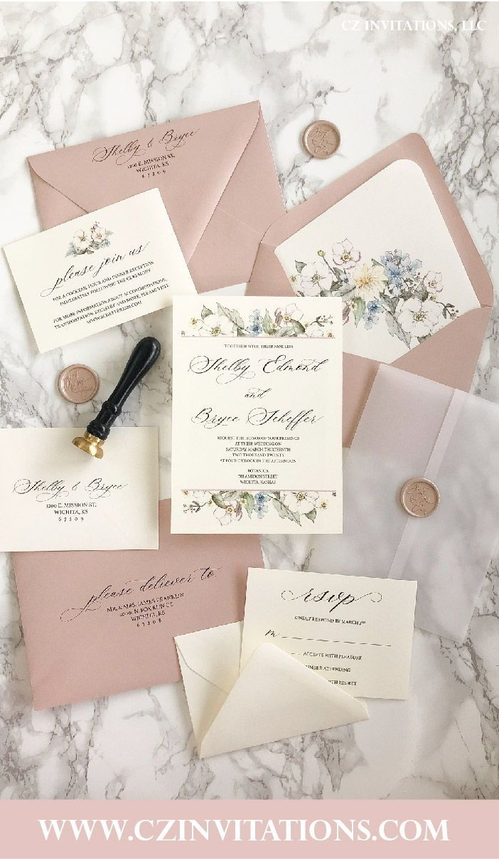 Rose Gold Floral and Vellum Wedding Invitation with Wax Seal | Etsy