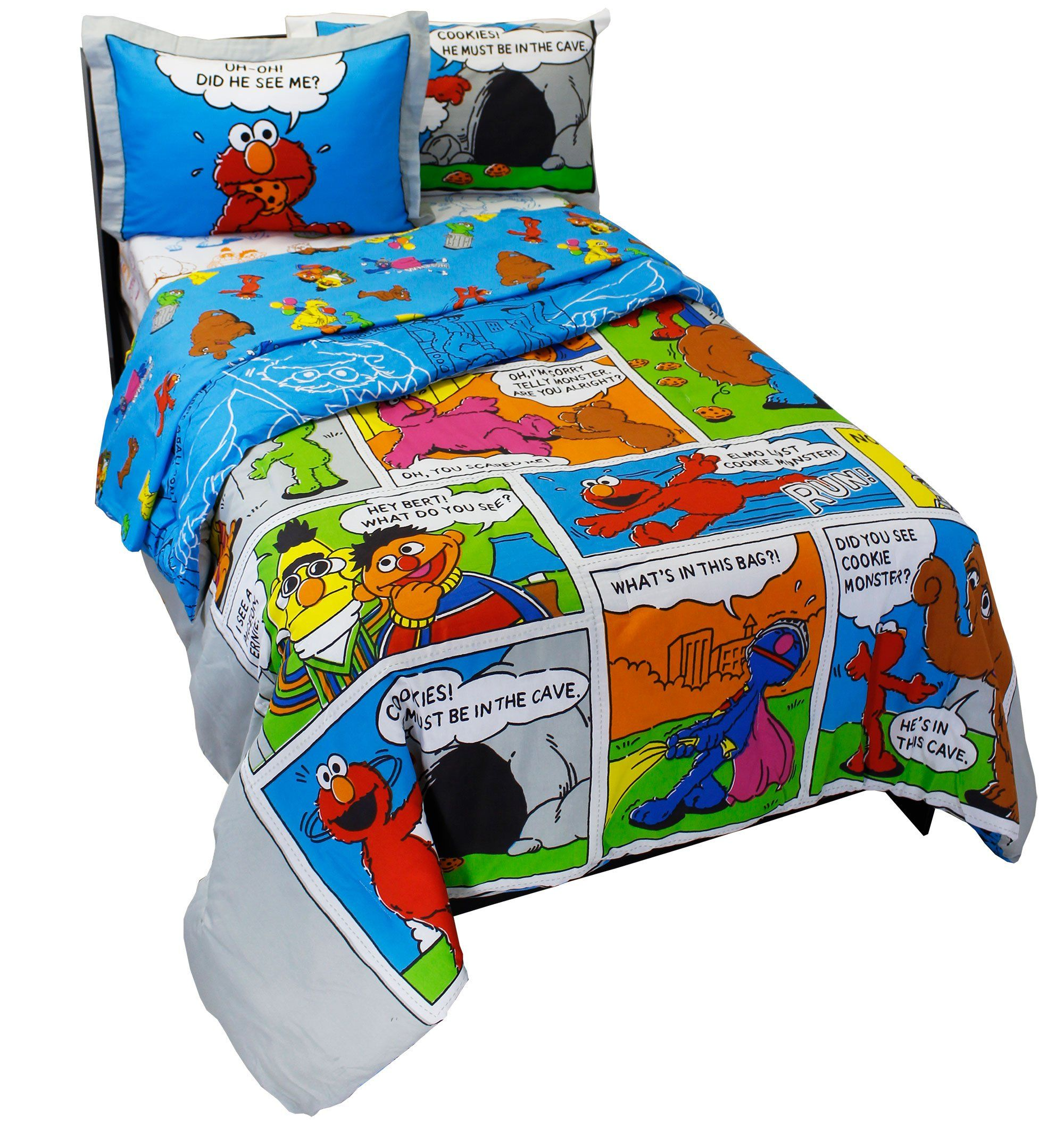 7pc Sesame Street Full Bedding Set Elmo Cookie Monster Comic Strip Comforter Sheets And Shams Visit The Image Link More Details