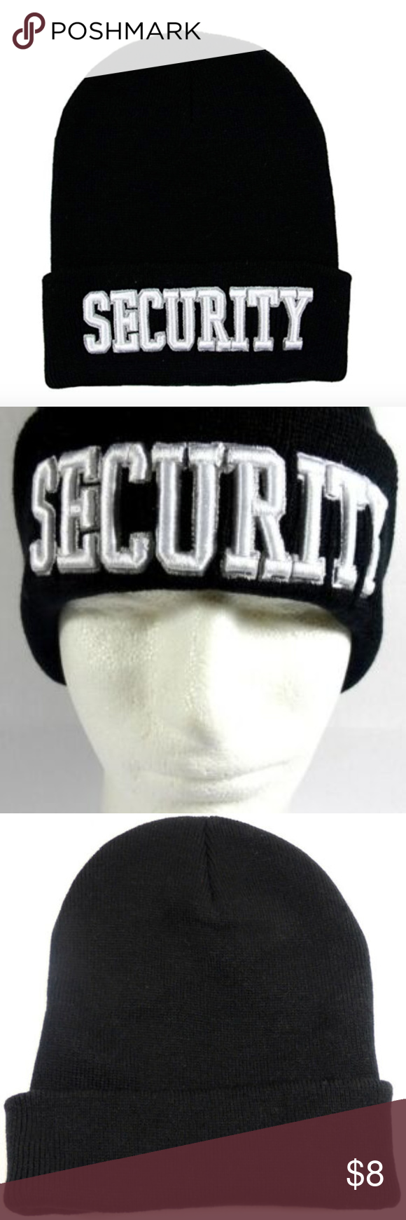 Security Officer Black Cuffed Knit Beanie Black Cuff Knit Beanie Beanie