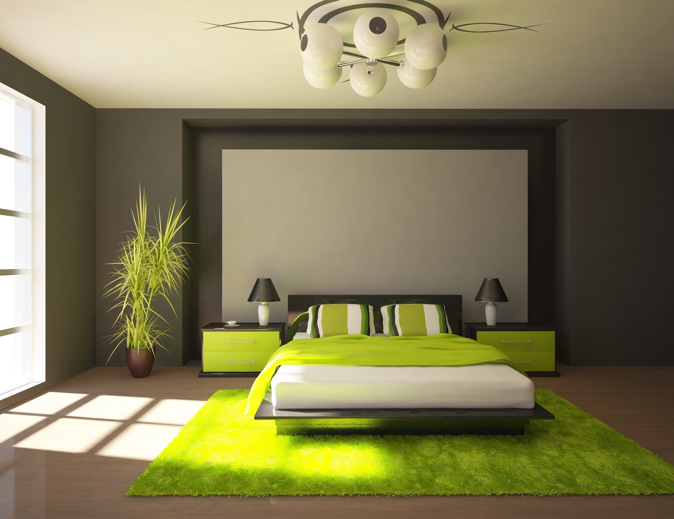 Green Bedroom Color Ideas upholstered gray bed styled with greens and stainless accent