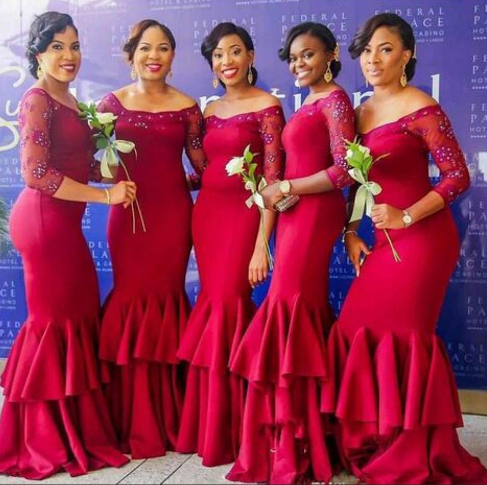 89156595546 Nigeria Dark Red Mermaid Bridesmaid Dresses Beaded Sheer Long Sleeve Tiered  Maid Of Honor Gowns Plus Size Ruffles Wedding Guest Dresses