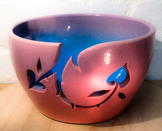 Yarn Bowl In Pink Sky Blue And Lavender With By Earthwoolfire 50 00 Ceramic Yarn Bowl Yarn Bowl Knitting Bowl
