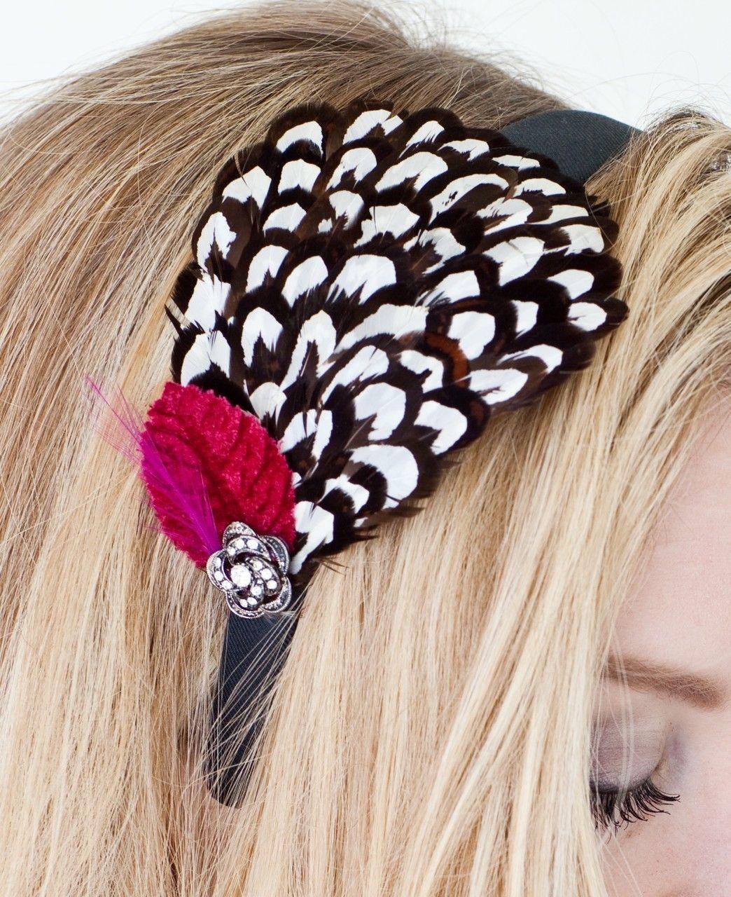Feather Fashion Headband with Crimson Velvet Leaf. $29.00, via Etsy.