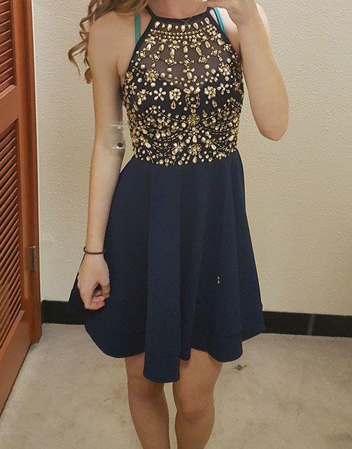Cute Dark Blue Prom Dress Cute Homecoming Dress Cocktail Dress
