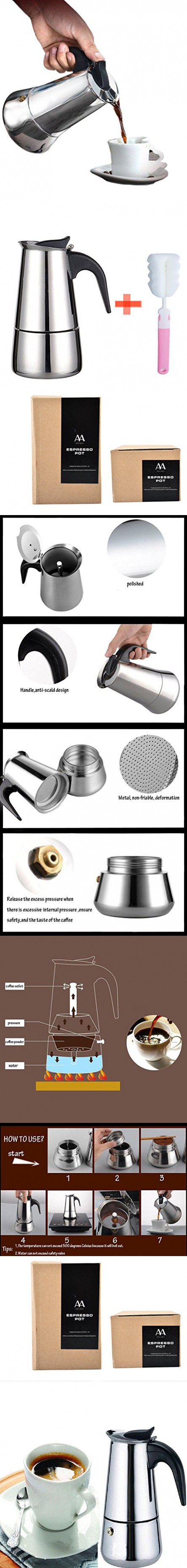 Generic ml cup moka coffee potstainless steel stovetop