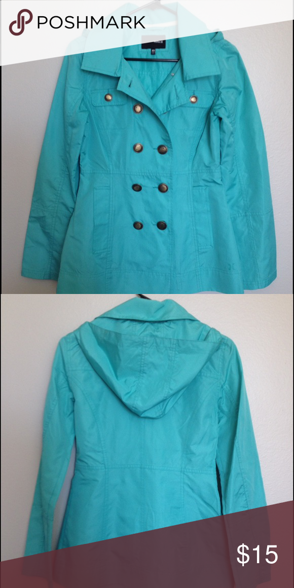 Hurley Bright Aqua Double-Breasted Hooded Raincoat Hurley double-breasted hooded raincoat in a fun, bright aqua color. Worn maybe 10 times, in perfect condition. Not lined, very lightweight, but great for the rain! Hurley Jackets & Coats