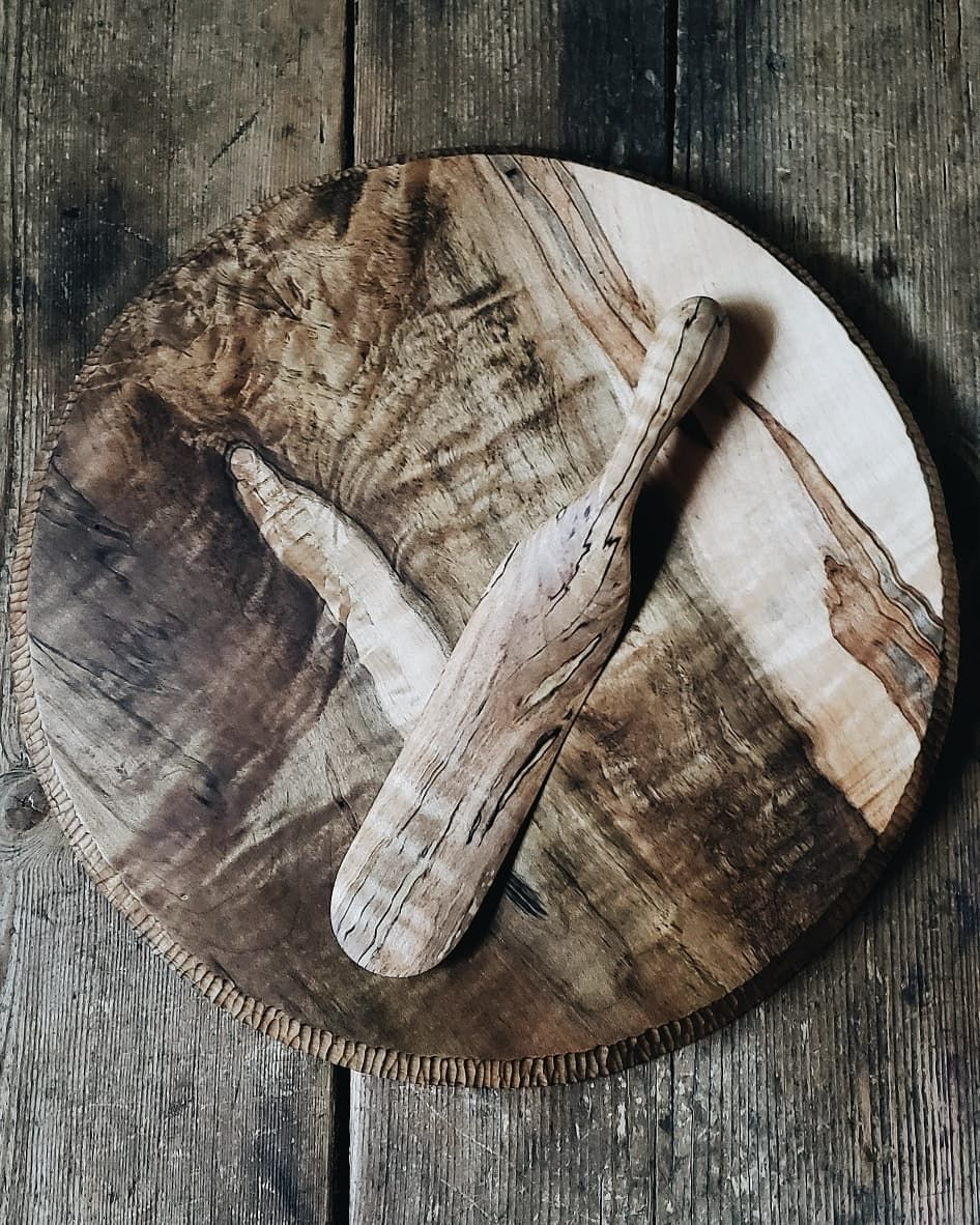 Handcrafted Wooden Dreamware Made From Fancy Maple Parisian Cake Charger And Original Spurtle Polde Parisian Cake Old World Kitchens Wooden Kitchen Utensils