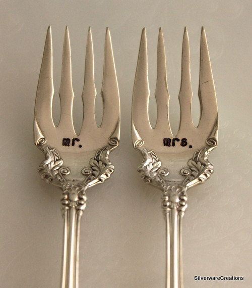 Silverware Wedding Gifts: CEDRIC 1906 Antique WEDDING Hand Stamped Personalized