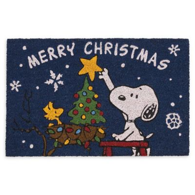 """Peanuts Snoopy Merry Christmas Holiday Accent Rug Welcome Mat 18/""""x30/"""""""