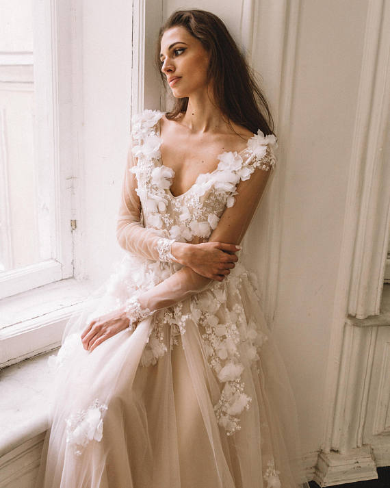 Unique Vintage Wedding Dress With Flowers A Line Sleeves 2018 Boom Blush