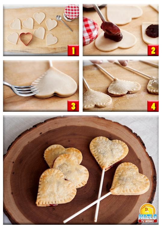 Mira lo que puedes hacer con masa para empanadas, jalea o nutella y palitos de madera. Divertidas paletas horneadas #hazlotumismo #cocina #hornear