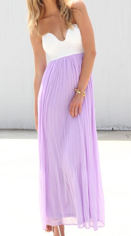 Lavender White Dresses