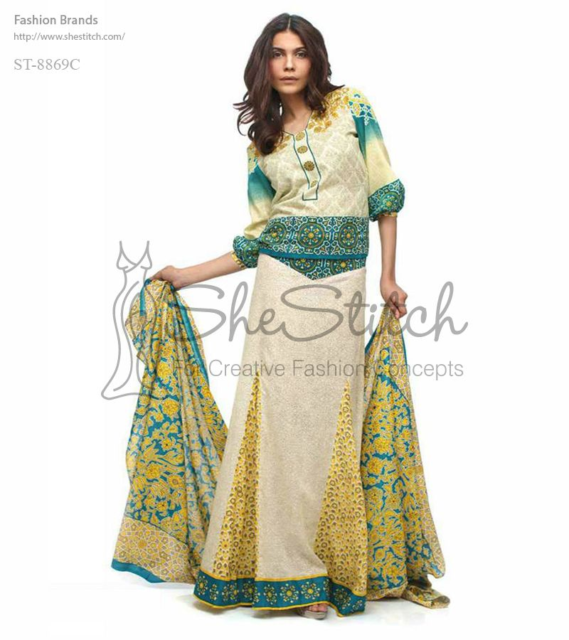 Price: $12 - ST-8869C from Libas collection is a dress with off white, green, and yellow color combinations. Its shirt is long frock with printed panels on bottom with elegant printed three-quarter sleeves.