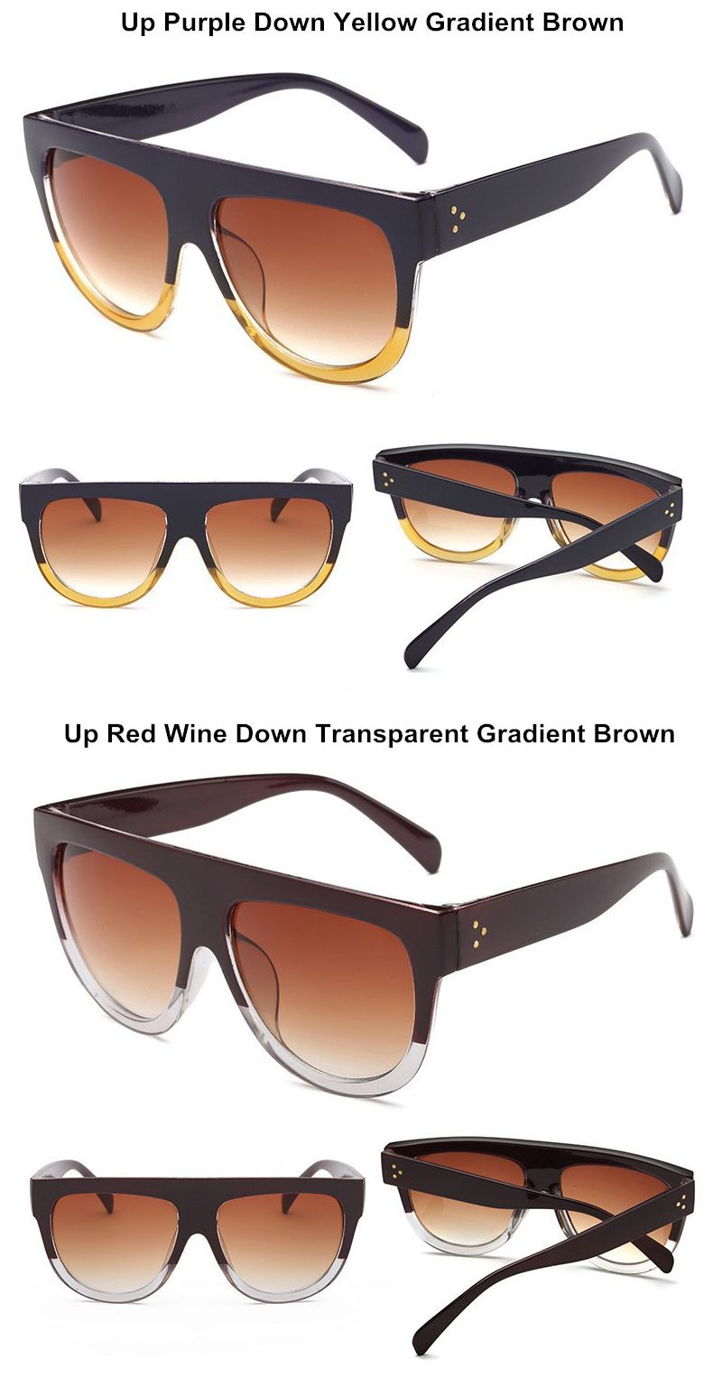 edcda8b7dd9 Italy Luxury Brand Designer Fashion Women Sunglasses Oversize Female Flat  Top Vintage Ladies Sun Glasses Men Eyewear