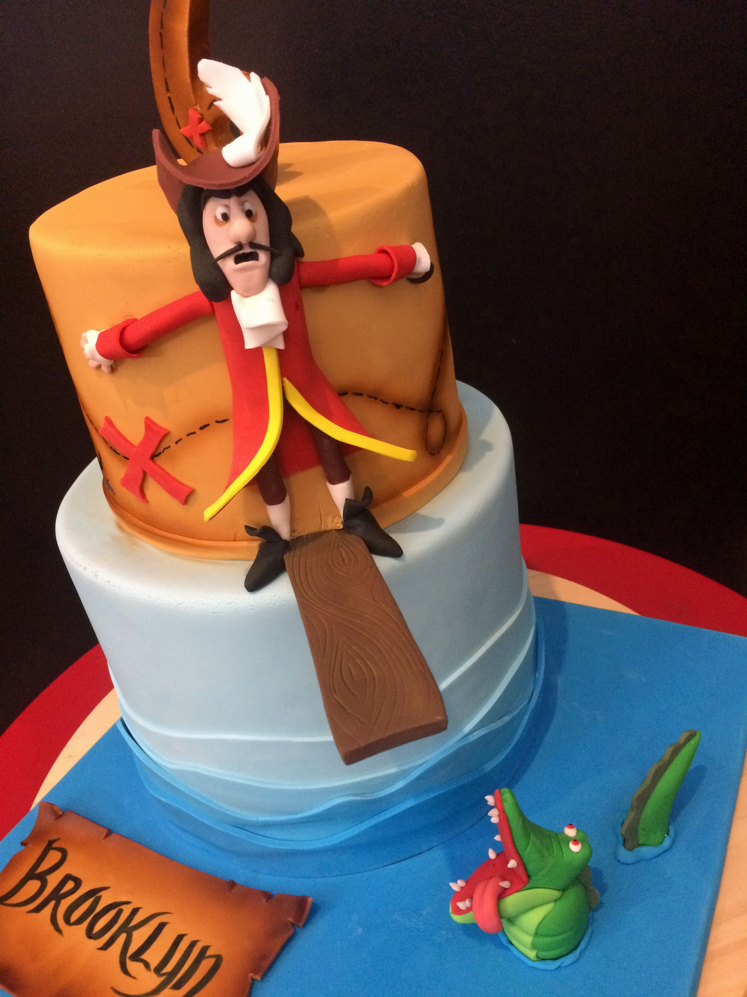 Stupendous Captain Hook Birthday Cake With Tick Tock The Croc Kids Personalised Birthday Cards Arneslily Jamesorg