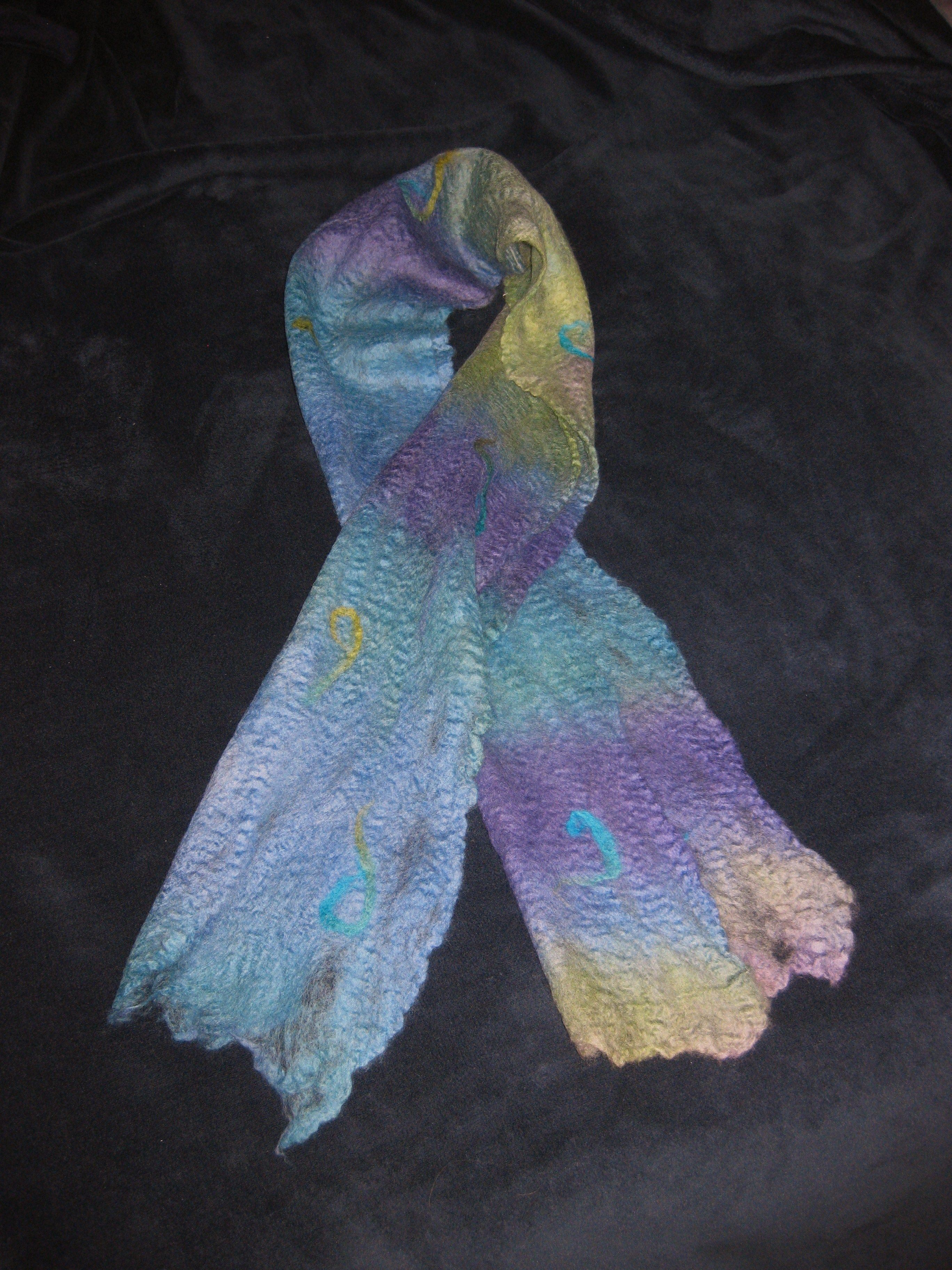 Wet felted scarf