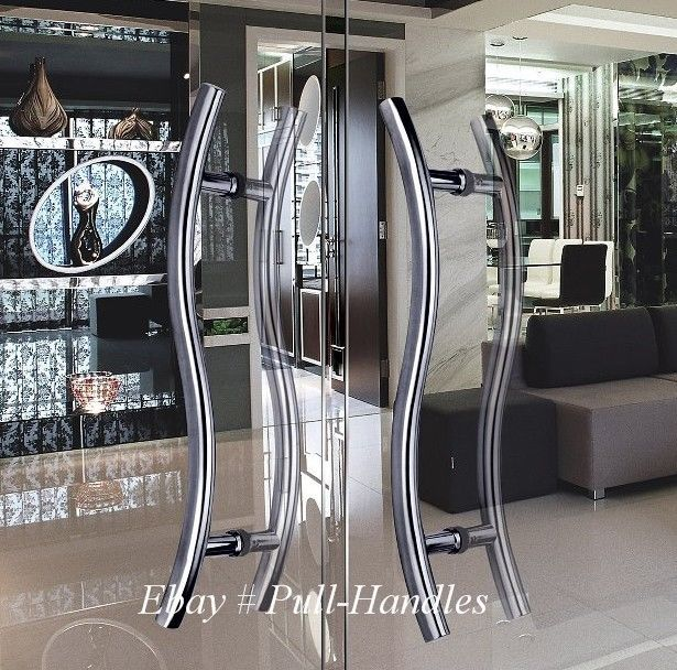 Set of long door curved push pull handles modern entryway design glass doors planetlyrics Image collections