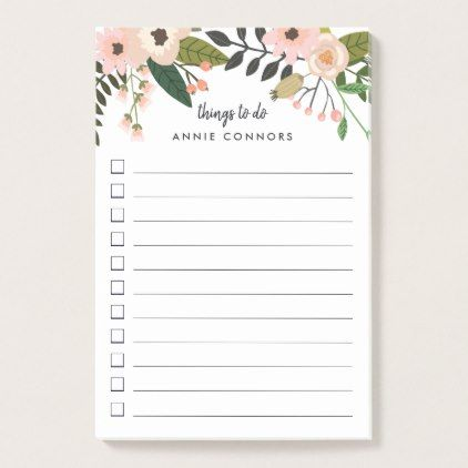 peach meadow personalized to do list post it notes blush pink