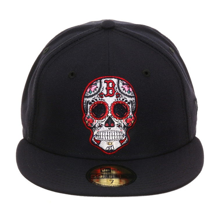 Exclusive New Era 59fifty Boston Red Sox Sugar Skull Hat Navy Hat Club New Era 59fifty Skull Hat Hats