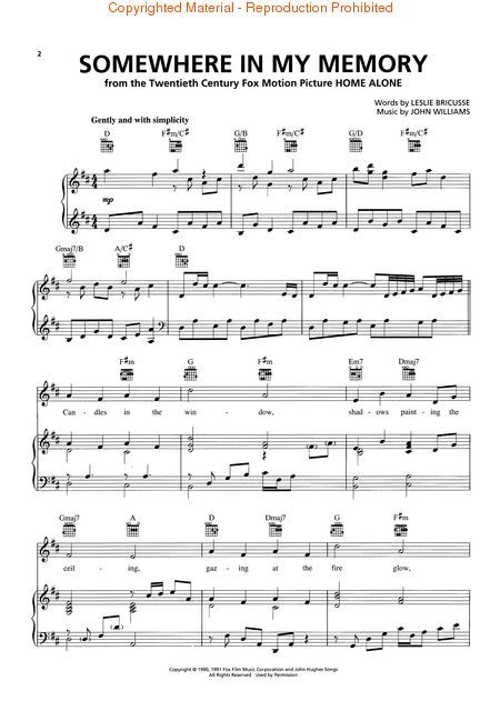 Somewhere In My Memory From Home Alone Sheet Music Book Music My Memory
