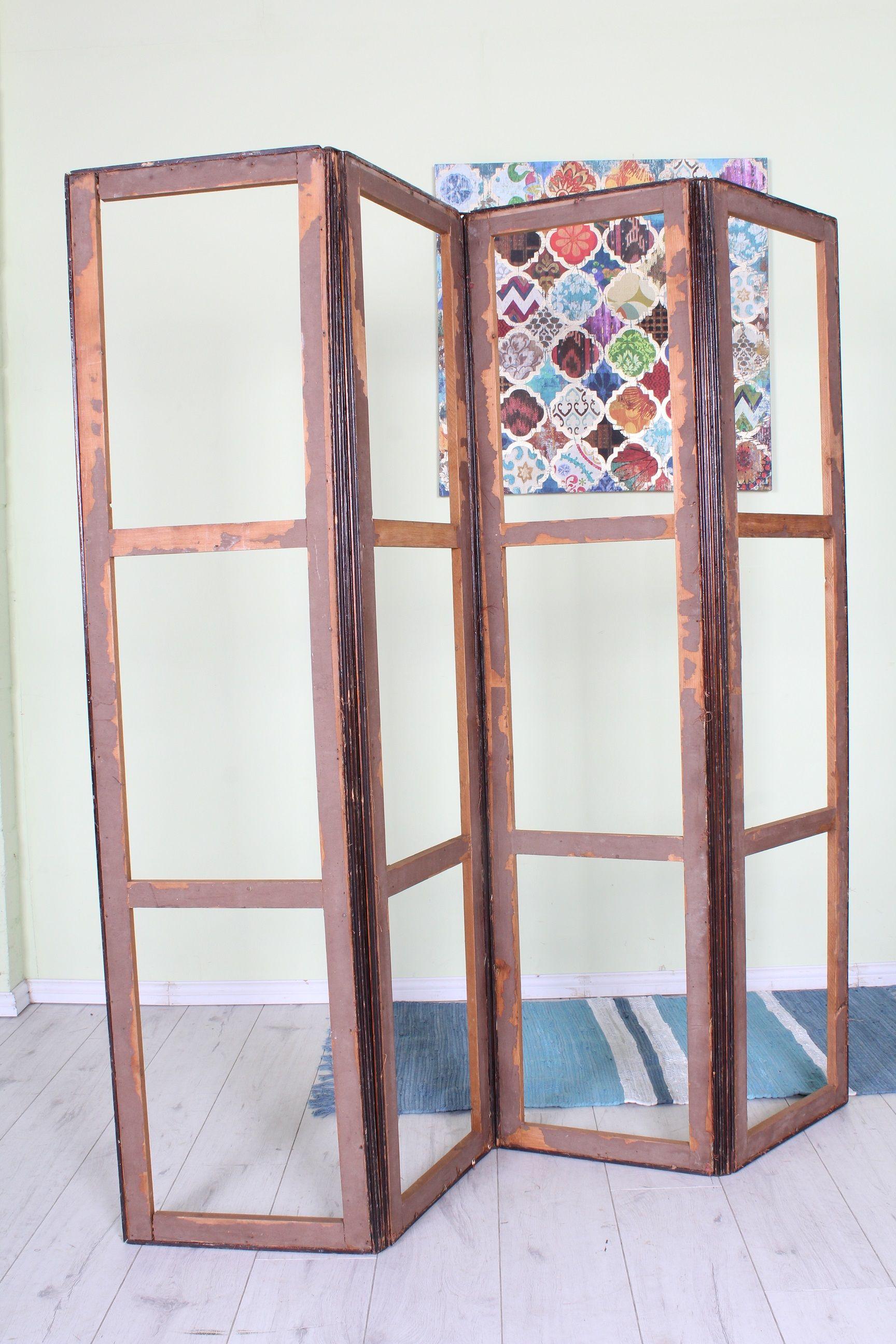 rustic old antique wooden bedroom divider screen in working