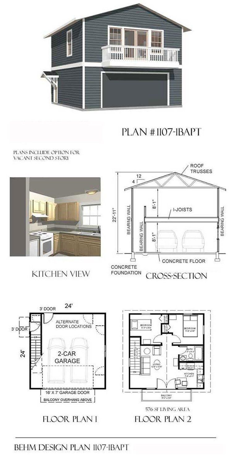 Garage plans two car two story garage with apartment and for Two bedroom garage apartment plans