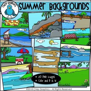 Summer Background Scenes Clip Art - Chirp Graphics ...