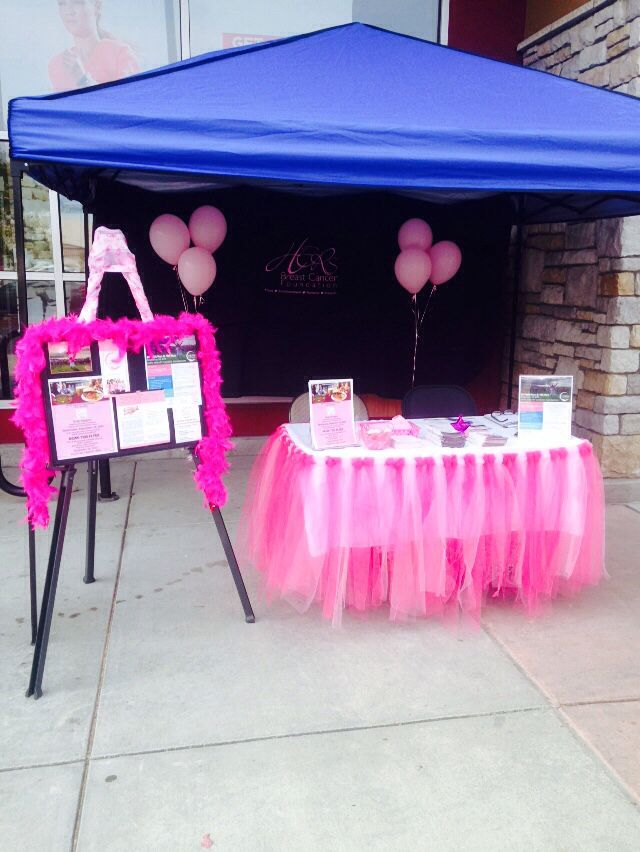 T Cancer Awareness Sign Up Table Booth Pink Ribbon