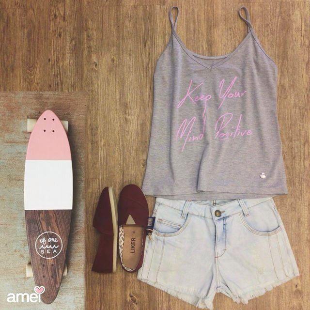 Pra quem curte pegar uma onda no asfalto  #lojaamei #look #shorts #jeans #alpargata #verao